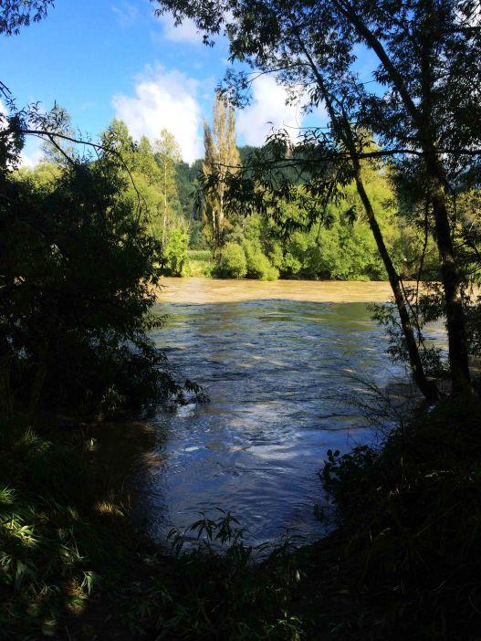 Rozvodněná řeka u kempu.