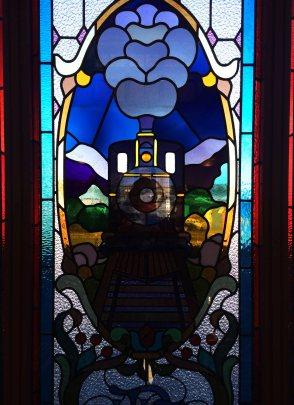 Okno na nádraží v Dunedinu.